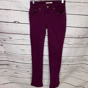Levi's mid rise skinny purple jeans